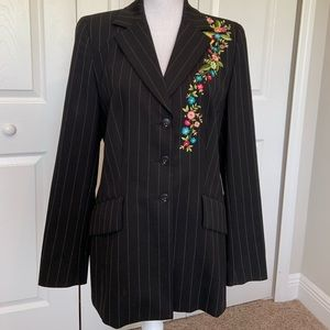 Escada Pinstriped Embroidered Blazer 8